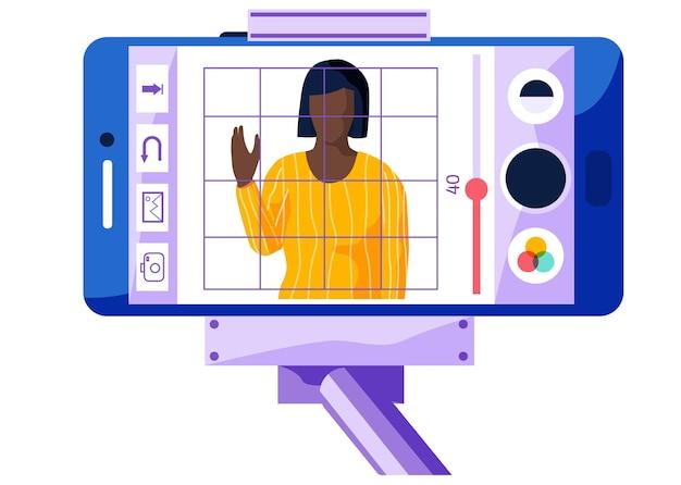 Garota está acenando com a mão na tela do telefone. personagem feminina com um suéter amarelo está cantando e gravando.