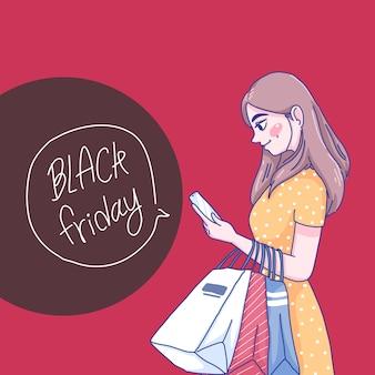 Garota está comprando online com a ilustração de seu smartphone