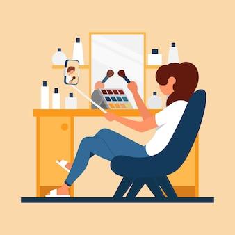 Garota faz maquiagem e filma o telefone de vídeo cor ícone de desenho animado plana conceito para blogueira de beleza