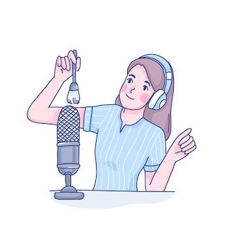 Garota fazendo asmr cartoon ilustração