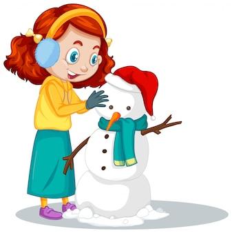 Garota fazendo boneco de neve em branco