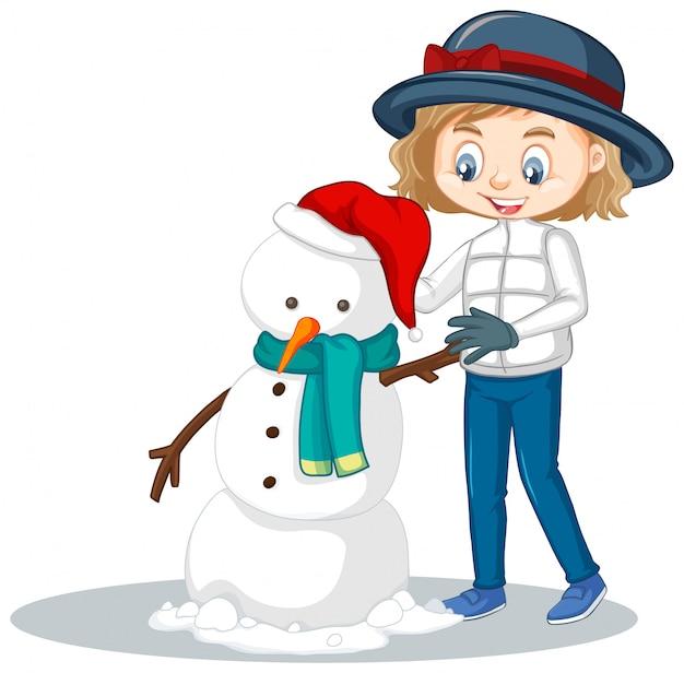 Garota fazendo boneco de neve isolado