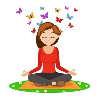 Garota fazendo ioga no tapete, por trás da cabeça voar borboletas em branco.