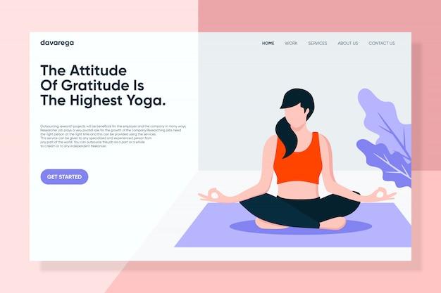 Garota fazendo yoga meditação landing page