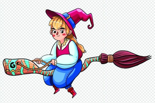 Garota feiticeira, montando uma ilustração transparente de vassoura