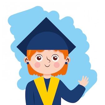 Garota feliz acenando com desenho animado de terno de formatura. ilustração