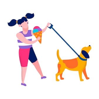 Garota feliz andando cão motivacional plano ilustração
