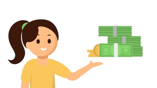 Garota feliz, apontando para o dinheiro