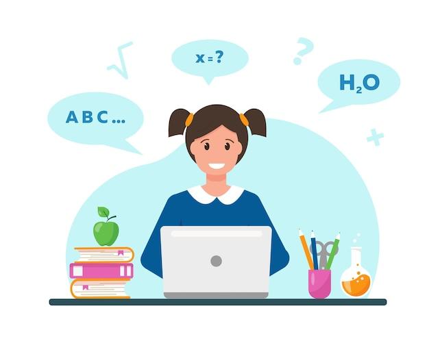 Garota feliz aprendendo online em casa