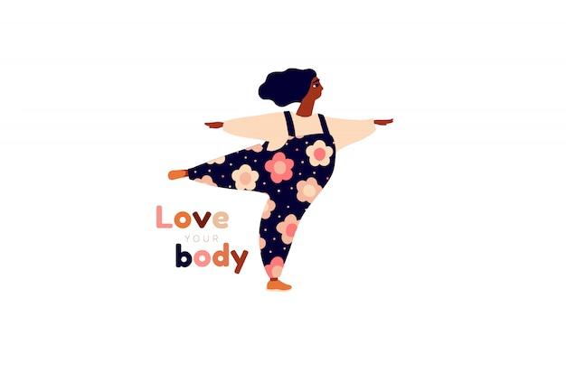 Garota feliz cartão positivo do corpo. ame a si mesmo, seu tipo de letras do corpo. liberdade feminina, poder feminino ou ilustração do dia da mulher internacional.