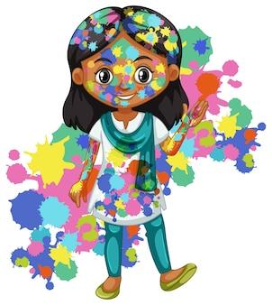 Garota feliz com aquarela splash no corpo dela
