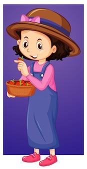 Garota feliz com bandeja de morangos