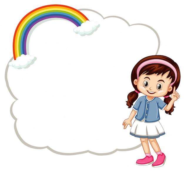 Garota feliz com banner de nuvem