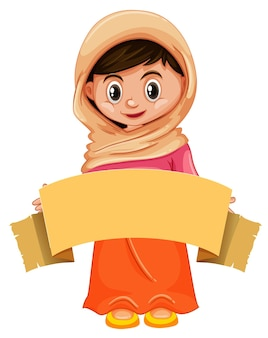 Garota feliz com banner marrom