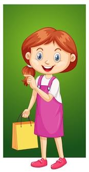 Garota feliz com sacola de compras