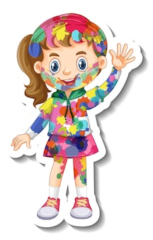 Garota feliz com um adesivo de corpo colorido em fundo branco