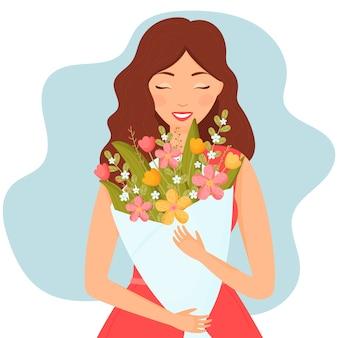 Garota feliz com um buquê de flores ilustração plana