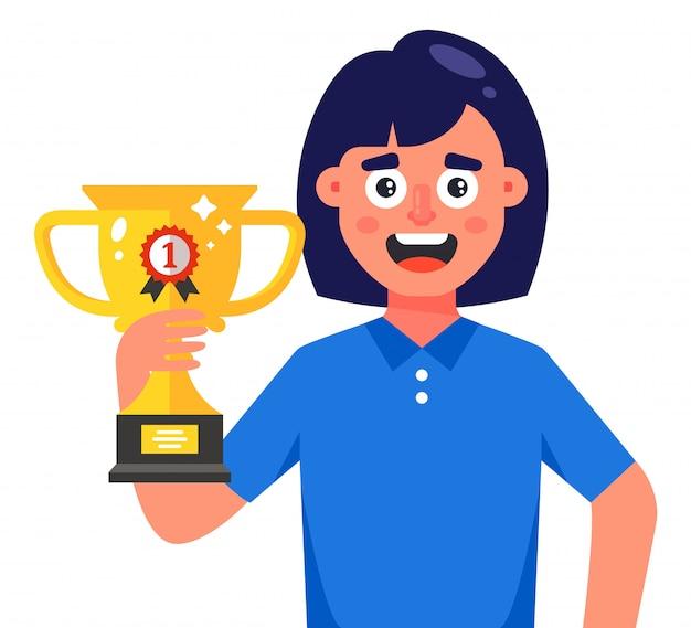 Garota feliz com uma xícara de vencedor em um fundo branco. ilustração de personagem plana.