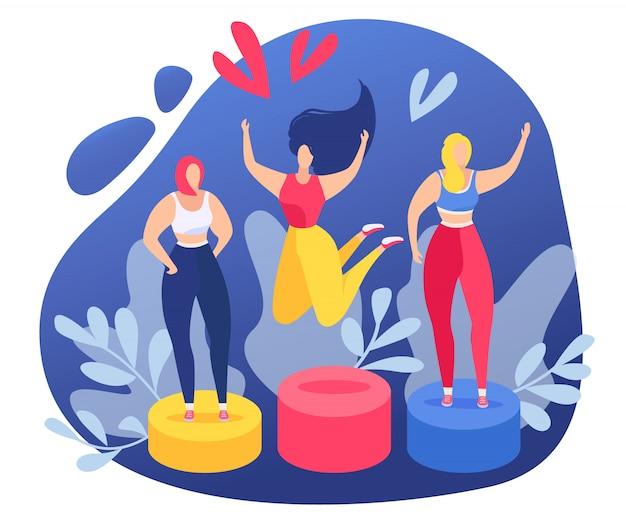 Garota feliz comemorar a vitória na ilustração de competição de mulheres. vencimento profissional de realização de pessoa sorridente. primeiro lugar, maratona desportiva, pessoas de sucesso, conceito de jovem campeão.