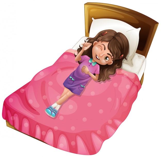 Garota feliz, deitado na cama-de-rosa