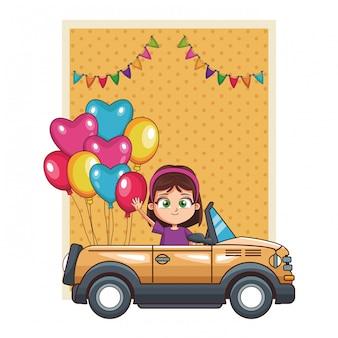 Garota feliz dirigindo desenhos animados de carro