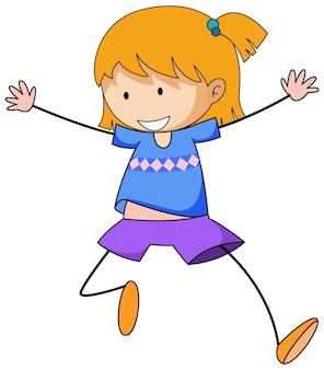 Garota feliz doodle personagem de desenho animado isolada