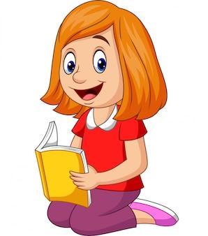 Garota feliz dos desenhos animados, lendo um livro