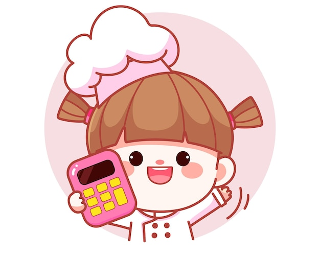Garota feliz e fofa chef com sacos de comida banner logo desenho animado ilustração