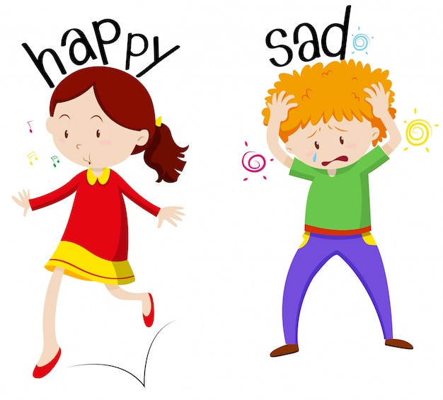 Garota feliz e garoto triste