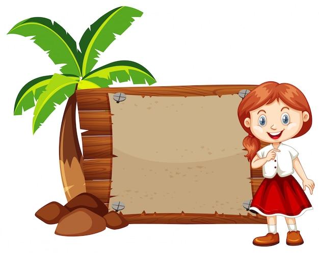 Garota feliz e sinal de madeira