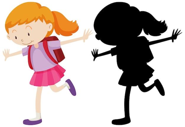 Garota feliz em pé com sua silhueta