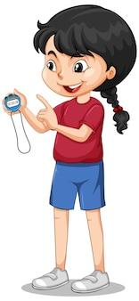 Garota feliz em pé e segurando um cronômetro