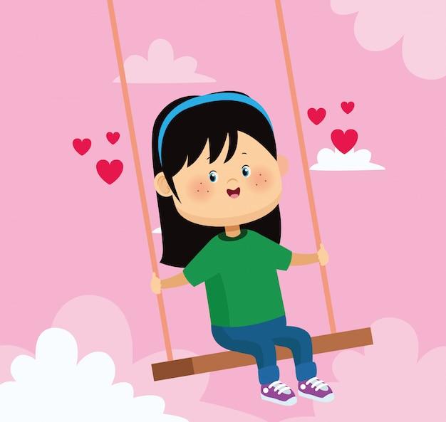 Garota feliz em um balanço