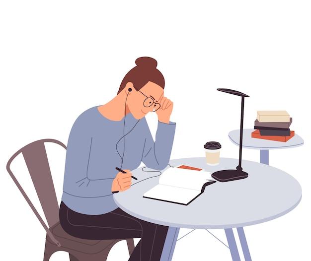 Garota feliz estudando com livros. aluna na mesa escrevendo para o dever de casa. de volta à escola. estudando na mesa. conceito de estudo. ilustração plana.