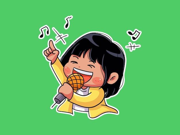 Garota feliz fofa e kawaii cantando em karaokê manga chibi ilustração