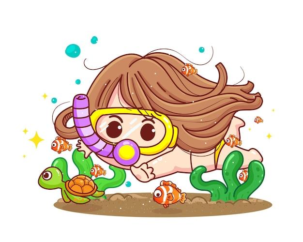 Garota feliz mergulha entre corais e peixes na ilustração dos desenhos animados do oceano