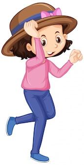 Garota feliz na camisa rosa