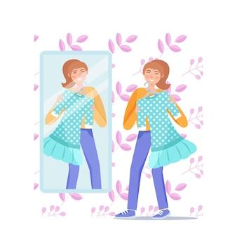 Garota feliz na frente do espelho experimenta um vestido verde. ilustração vetorial