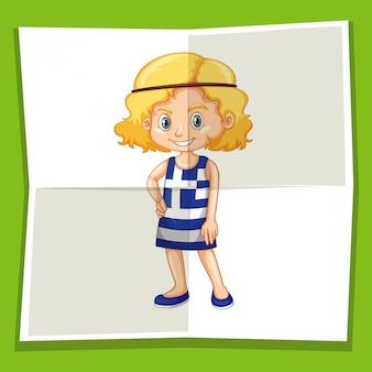 Garota feliz no vestido da grécia