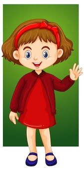 Garota feliz no vestido vermelho