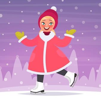 Garota feliz patinando em uma pista de patinação no fundo de uma paisagem de inverno