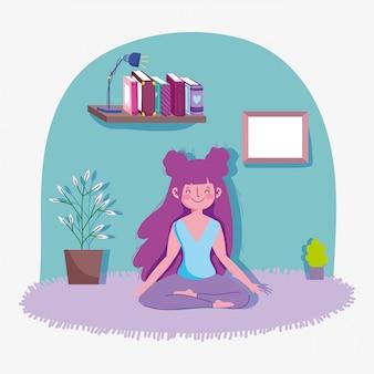 Garota feliz, praticando ioga atividade esporte exercício em casa