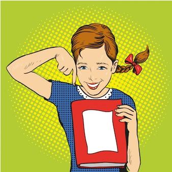 Garota feliz segura um livro nas mãos dela. voltar para o modelo de escola