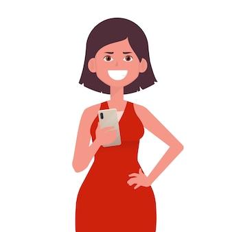 Garota feliz segurando o smartphone nas mãos.