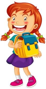 Garota feliz segurando uma mochila escolar