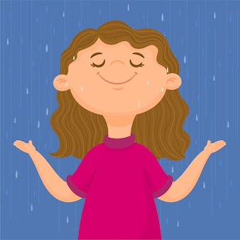 Garota feliz sob a chuva de outono