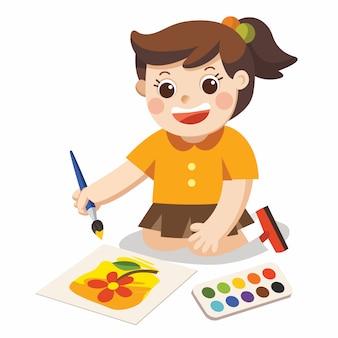 Garota feliz tirar fotos, lápis e tintas no chão. vetor isolado.