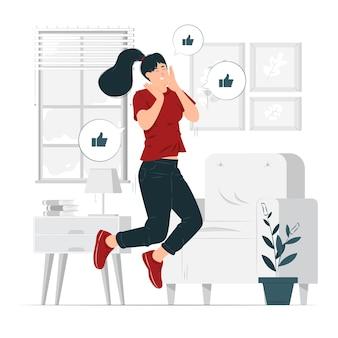 Garota feliz, uma mulher pulando de alegria, ilustração entusiasmada do conceito