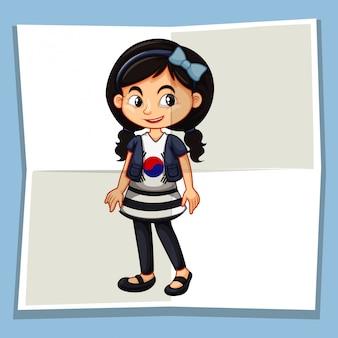 Garota feliz, vestindo camisa com bandeira da coréia