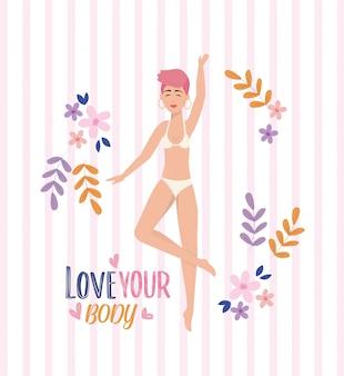Garota feliz vestindo roupa interior com postura corporal e plantas